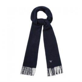 Barbour Plain Lambswool Navy Scarf