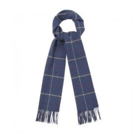 Barbour Tattersall Lambswool Scarf Navy Plum USC0009NY12