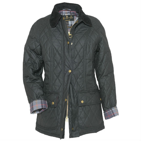 LWX0308 Barbour Quilted Wax Beadnell Black Modern