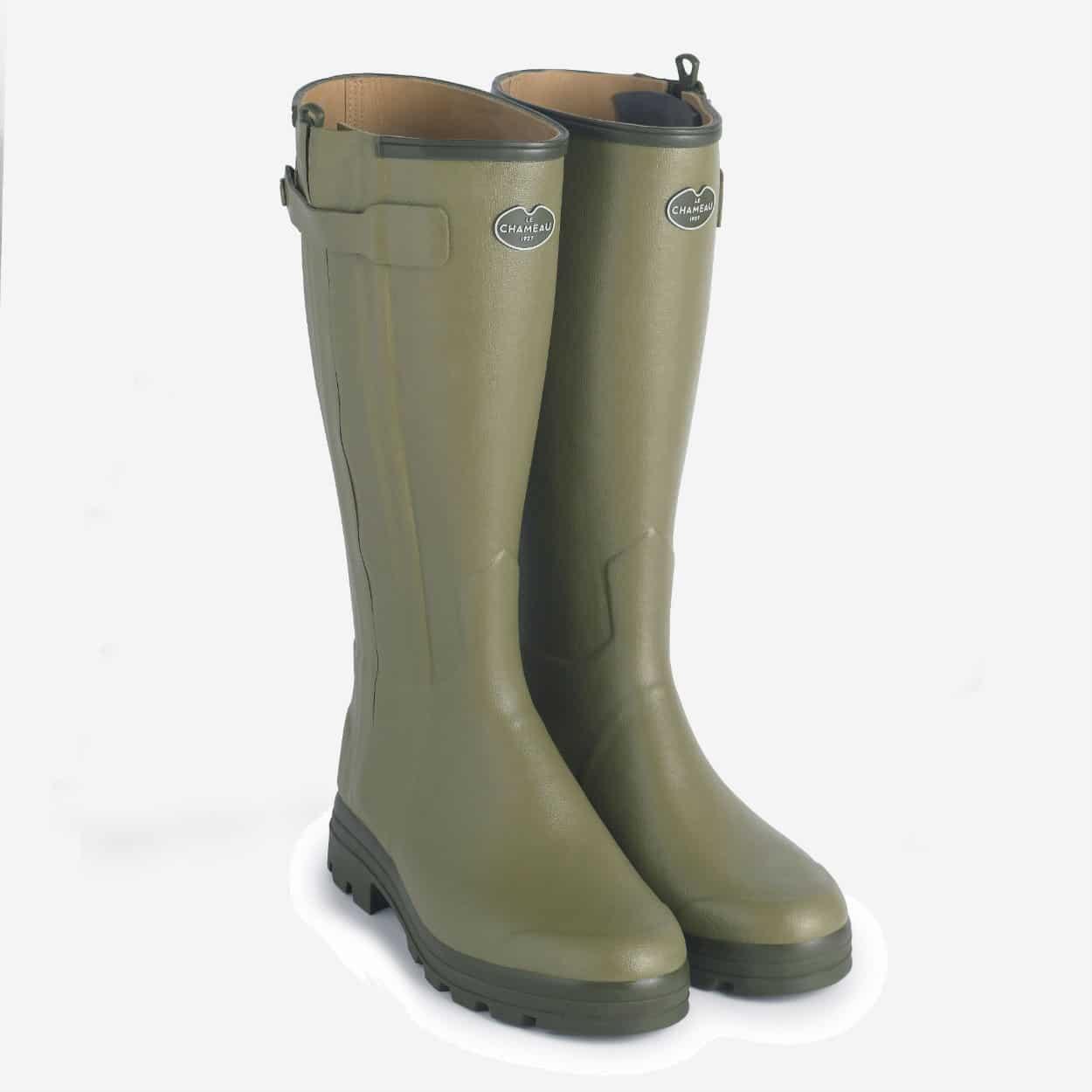 Le Chameau Chasseur Cuir Leather Lined Wellington Boots