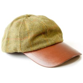 Hunter Outdoor Dark Tweed & Leather Baseball Cap