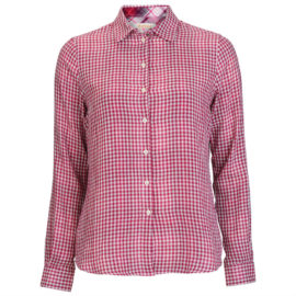 LSH0886 Barbour Ladies Bower Gingham Shirt Wine