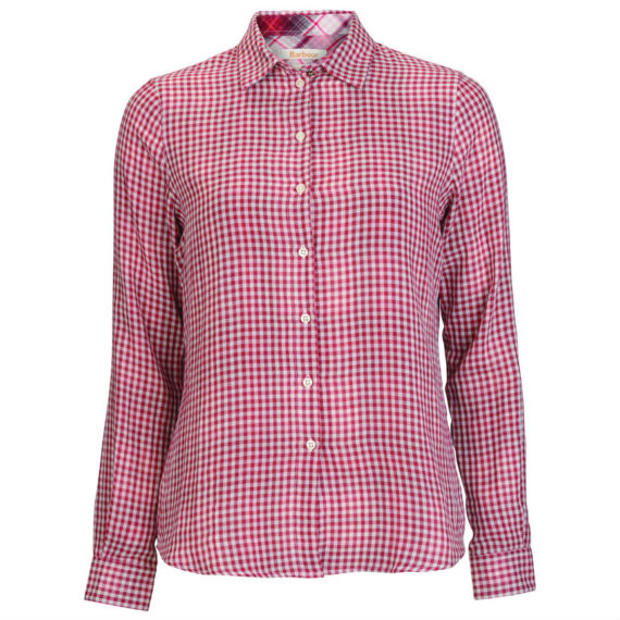 Barbour Ladies Bower Gingham Wine Check Shirt