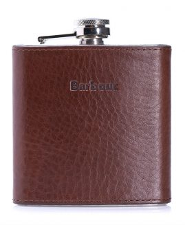 Barbour Leather Hip Flask and Gift Box