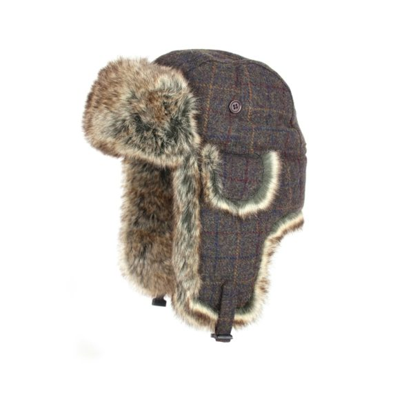 Jack Pyke Wool Blend Trapper Hat - Brown Check