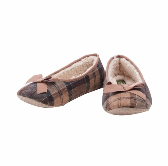 Barbour Lily Ladies Tartan Slippers - Camel