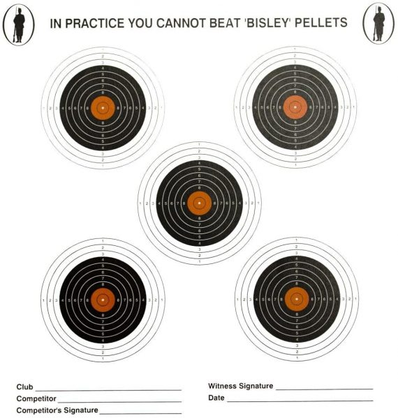 Bisley 17cm Coloured 5 Target Rifle Targets x100